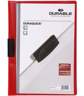 Папка пластиковая с клипом Durable Duraquick А4, 20 л., красная