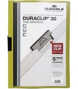 Папка пластиковая с клипом Durable Duraclip А4, 30 л., зеленая