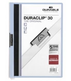 Папка пластиковая с клипом Durable Duraclip А4, 30 л., голубая