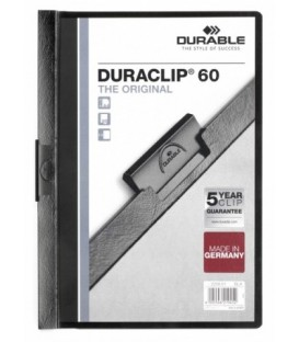 Папка пластиковая с клипом Durable Duraclip А4, 60 л., черная