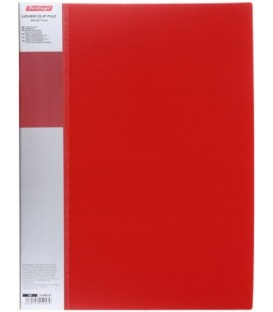 Папка пластиковая с боковым зажимом и карманом Standart толщина пластика 0,7 мм, красная