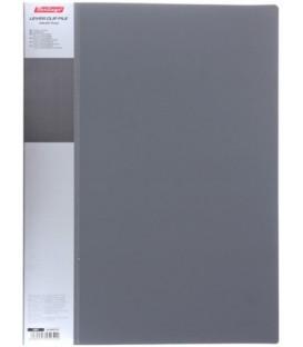 Папка пластиковая с боковым зажимом и карманом Standart толщина пластика 0,7 мм, серая