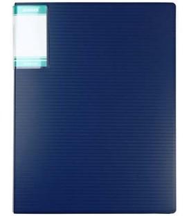 Папка пластиковая с боковым зажимом и карманом Hor Lines толщина пластика 0,7 мм, синяя