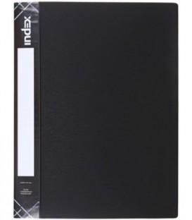 Папка пластиковая с боковым зажимом и карманом Index Satin толщина пластика 0,6 мм, черная