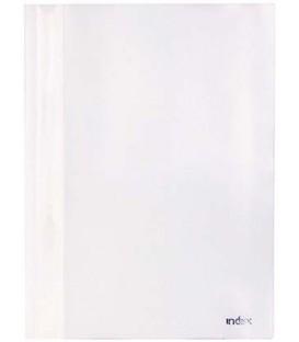 Папка пластиковая со скоросшивателем А4 Index 1200 толщина пластика 0,18 мм, белая