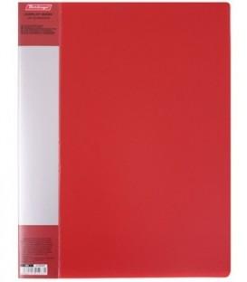 Папка пластиковая на 10 файлов Standart толщина пластика 0,6 мм, красная