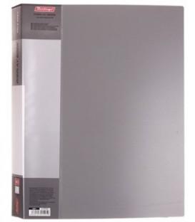 Папка пластиковая на 80 файлов Standart толщина пластика 0,8 мм, серая