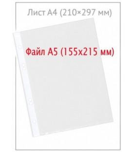Файл А5 перфорированный inФормат 30 мкм, гладкий, глянцевый, 155*215 мм (до 50 л.)