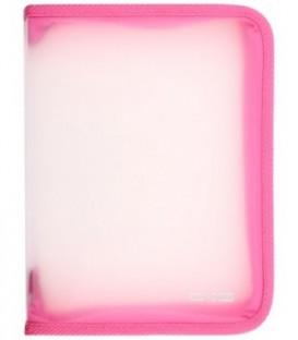 Папка пластиковая на молнии Economix толщина пластика 0,5 мм, прозрачная с розовым