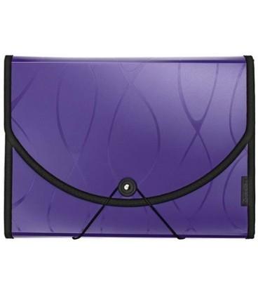 Папка пластиковая объемная 12 отделений Safe фиолетовая с узором