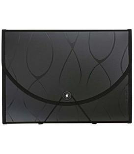 Папка пластиковая объемная 12 отделений Safe черная с узором