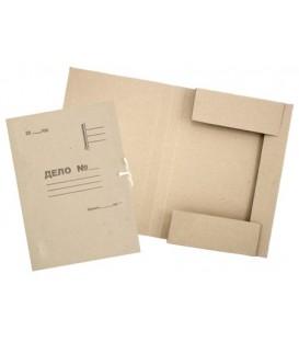 Папка картонная на завязках «Дело» А4, плотность 420 г/м2, немелованная, серая