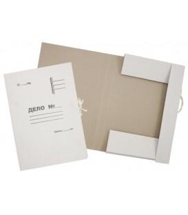 Папка картонная на завязках «Дело» А4, плотность 420 г/м2, немелованная, белая