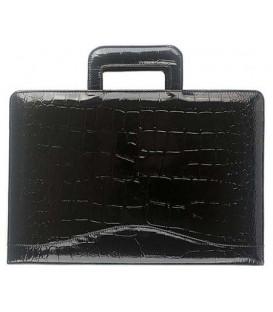 Папка деловая из натуральной кожи «Кинг» 2049 390*270*40 мм, рифленая глянцевая черная