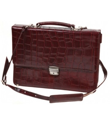 Портфель деловой из натуральной кожи «Кинг» 1079 362*252*50 мм, рифленый, бордо