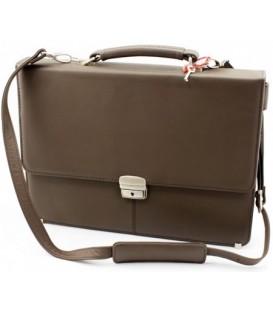 Портфель деловой из натуральной кожи «Кинг» 1079 360*260*50 мм, гладкий, коричневый