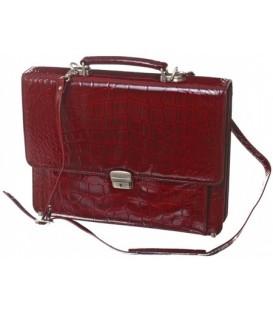 Портфель деловой из натуральной кожи «Кинг» 1075 380*290*60 мм, рифленый, бордовый
