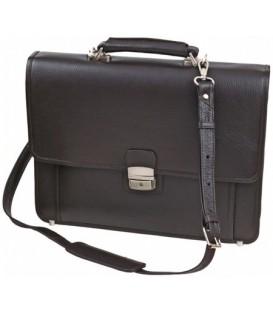 Портфель деловой из натуральной кожи «Кинг» 1078 380*300*50 мм, рифленый, темно-коричневый