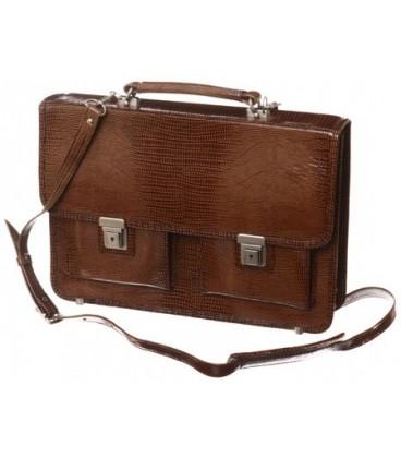 Портфель деловой из натуральной кожи «Кинг» 1069 360*260*50 мм, рифленый, коричневый