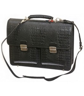 Портфель деловой из натуральной кожи «Кинг» 1070 410*320*60 мм, рифленый черный